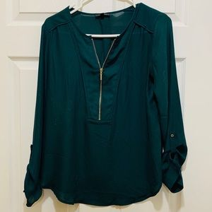 Dynamite Green Blouse with Zipper